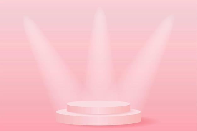 Różowy reflektor podium na scenie.