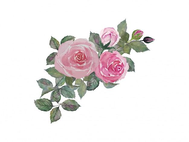 Różowy róża bukiet z zielonymi liśćmi maluje akwareli ilustrację