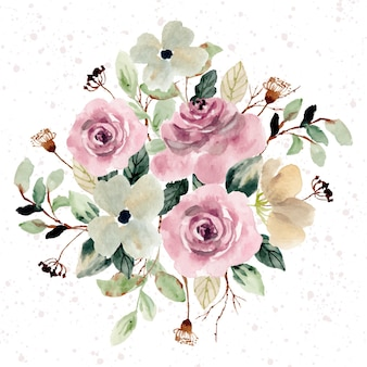 Różowy rumieniec akwarela bukiet kwiatów