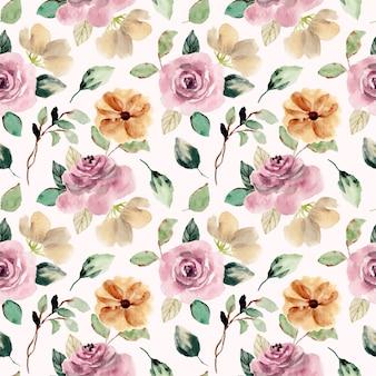 Różowy rumieniec kwiat akwarela bezszwowe wzór