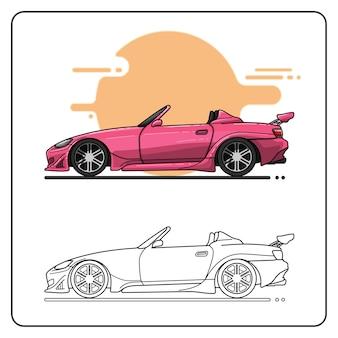 Różowy samochód sportowy