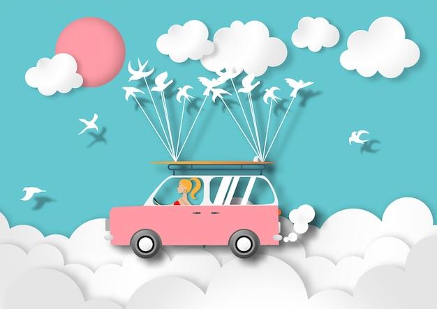 Różowy samochód van i biały ptak