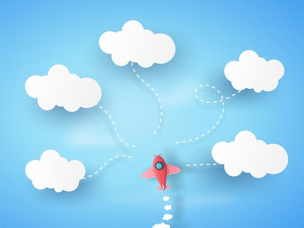 Różowy samolot uruchamia się w błękitne niebo i chmury. szablon plansza.