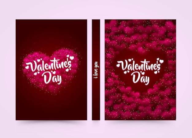 Różowy serce tło z tytułem walentynki na nim. sformatuj okładkę a4. wektor