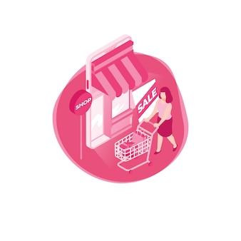 Różowy sklep izometryczny online