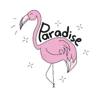 Różowy słodki flaming - nadruk na koszulce z grafiką tekstylną. ilustracja wektorowa na białym tle