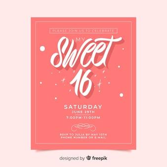 Różowy słodki zaproszenie karta 16 osób