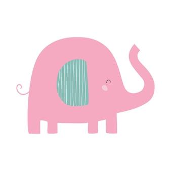 Różowy słoń ładny wektor płaska ilustracja ze słoniem ilustracja kreskówka dla dzieci