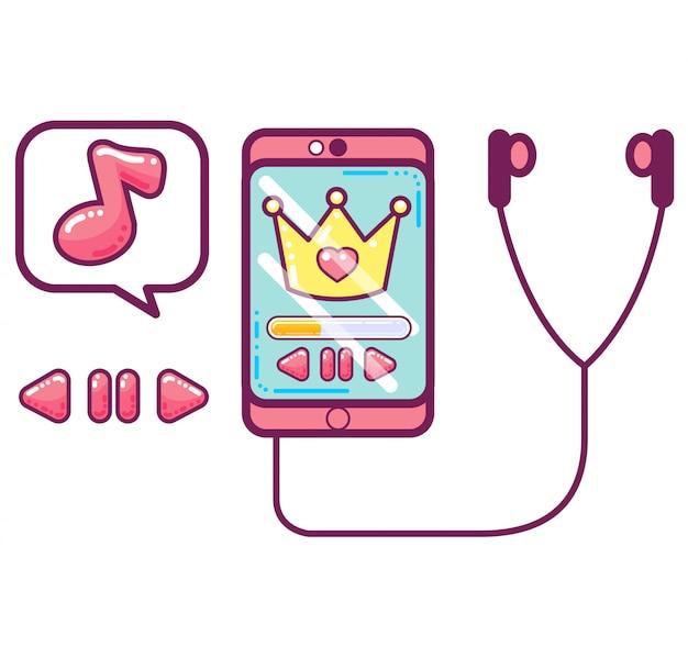 Różowy smartphone z słuchawkami i symbolami muzyki