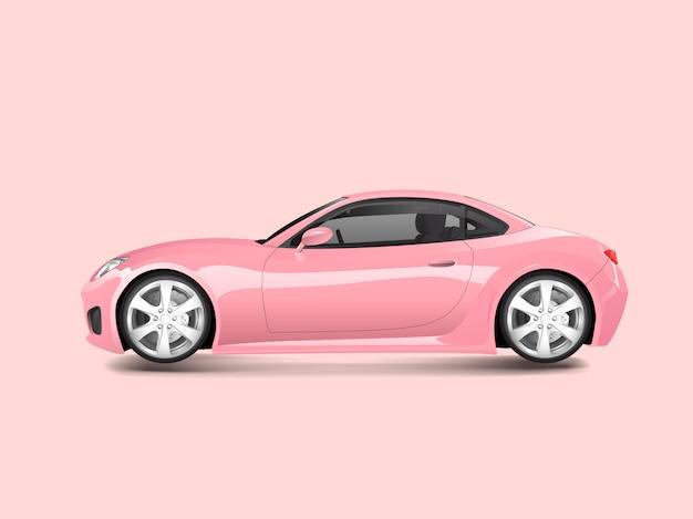 Różowy sporta samochód w różowym tło wektorze