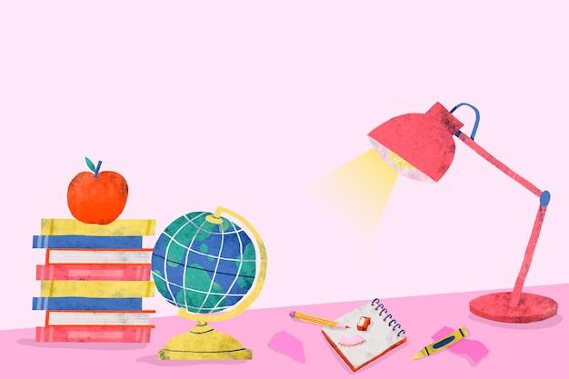 Różowy stół do nauki z powrotem do szkoły