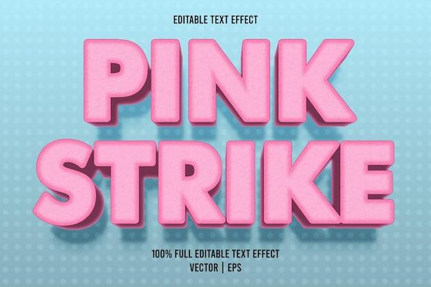 Różowy strajk edytowalny efekt tekstowy w stylu kreskówki