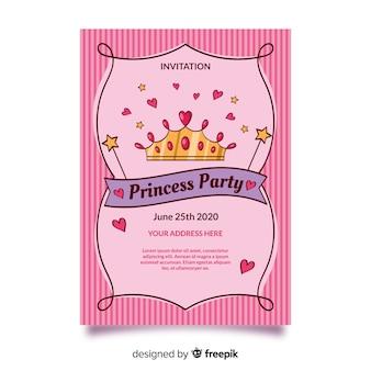 Różowy szablon zaproszenia strony księżniczki
