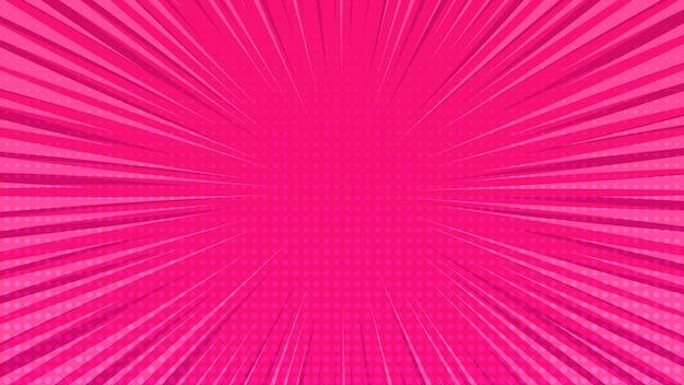 Różowy tło strony komiksu w stylu pop-art z pustej przestrzeni. szablon z promieniami, kropkami i teksturą efektu półtonów. ilustracja wektorowa