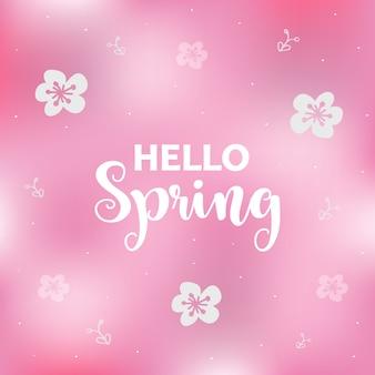 Różowy tło wiosna z kwiatami. karta z pozdrowieniami sezon.