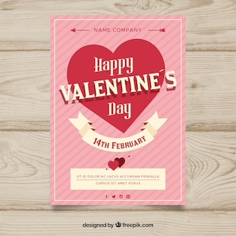 Różowy valentine plakat z sercem