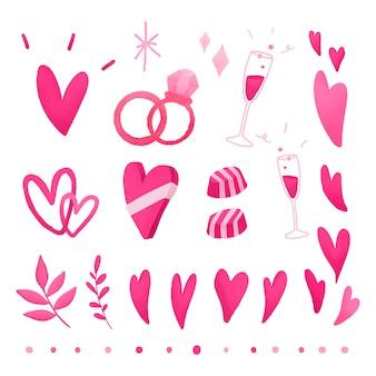 Różowy walentynki miłość doodle zestaw