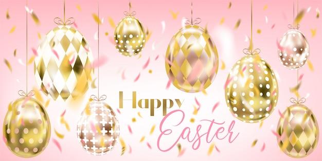 Różowy wielkanocny baner ze złotymi jajami i konfetti