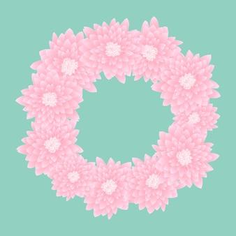 Różowy wieniec chryzantemy