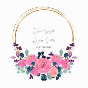 Różowy wieniec kwiatowy z akwarelą