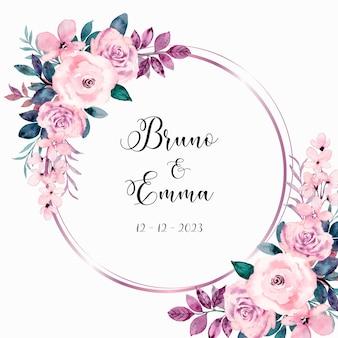 Różowy wieniec z kwiatów róży z akwarelą