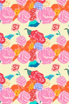 Różowy wiosenny wektor kwiatowy wzór z kolorowym tłem róż
