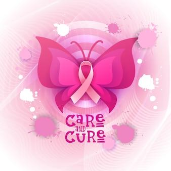 Różowy wstążka motyl banner świadomości raka piersi