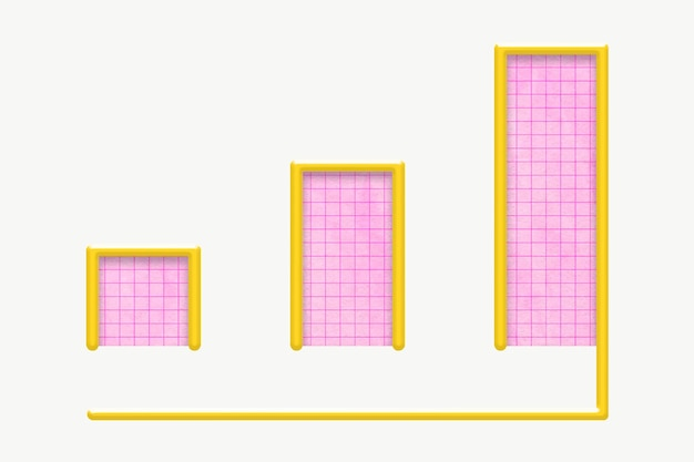 Różowy wykres słupkowy wykres wzrostu biznesu dla marketingu