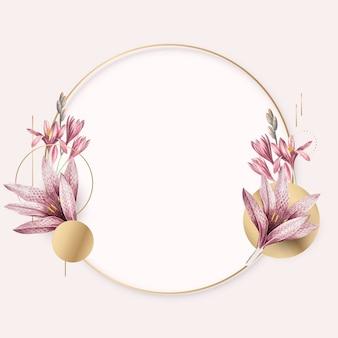 Różowy wzór amarylis ze złotą ramką