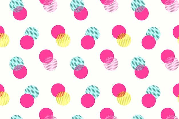 Różowy wzór tła, polka dot, ładny kobiecy projekt wektor