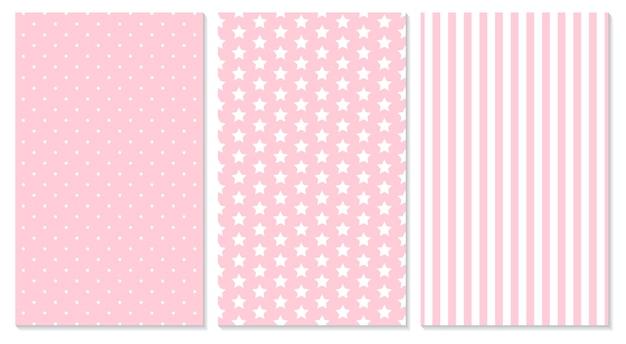 Różowy wzór. tło dla dzieci. ilustracja. kropki, paski, wzór w gwiazdki.