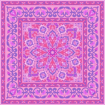 Różowy wzór z ozdobnymi kwiatami.