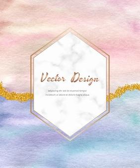 Różowy z niebiesko-złotą brokatową kartą pociągnięcia pędzla akwarelowego i marmurową ramką.