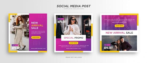 Różowy z żółtymi minimalistycznymi szablonami postów w mediach społecznościowych