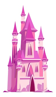 Różowy zamek dla księżniczki bajki, ilustracja kreskówka na białym tle