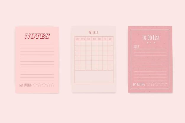 Różowy zestaw planowania notatnika