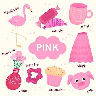 Różowy zestaw słownictwa w języku angielskim