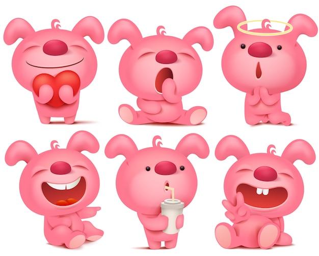 Różowy zestaw znaków emoji króliczek z różnymi emocjami i sytuacjami.