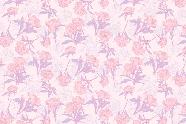 Różowym tle kwiatowy wzór