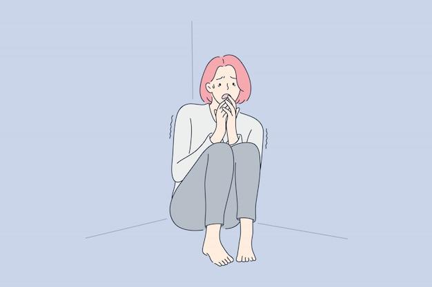 Rozpacz, frustracja, strach, stres psychiczny koncepcja.