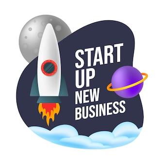 Rozpoczęcie nowej działalności koncepcja nowego otoczenia biznesowego z rakietą.