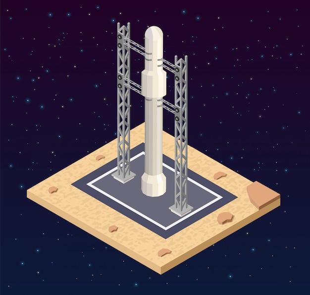 Rozpoczęcie startu izotopowego low poly kosmodromu.