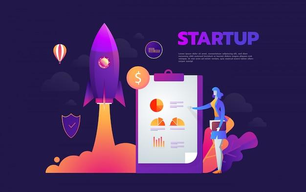 Rozpoczęcie uruchamiania procesu izometryczny infographic technologii online, koncepcja biznesowa