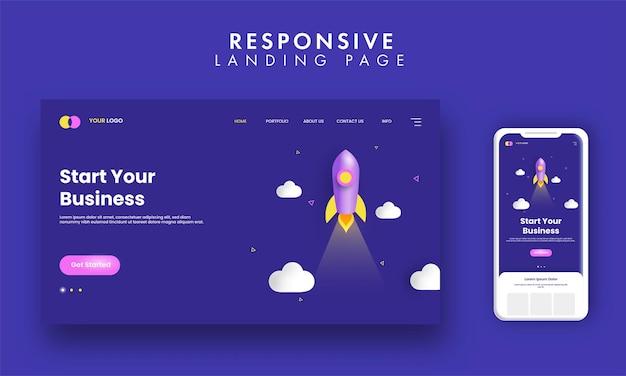 Rozpocznij biznesową stronę docelową z ilustracją rakiety