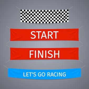Rozpocznij i zakończ banery tekstylne wektor zestaw. flagowy wyścig sportowy, zakończenie zawodów, sukces zwycięzcy