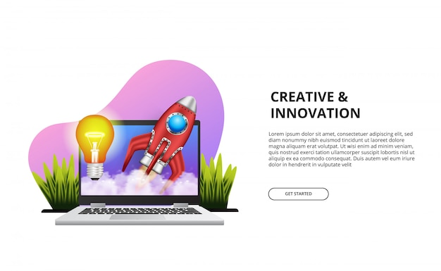 Rozpocznij kreatywną innowację z ilustracją laptopa, rakiety, światła.