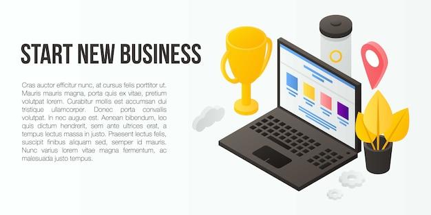 Rozpocznij nowy transparent koncepcja biznesowa, izometryczny styl