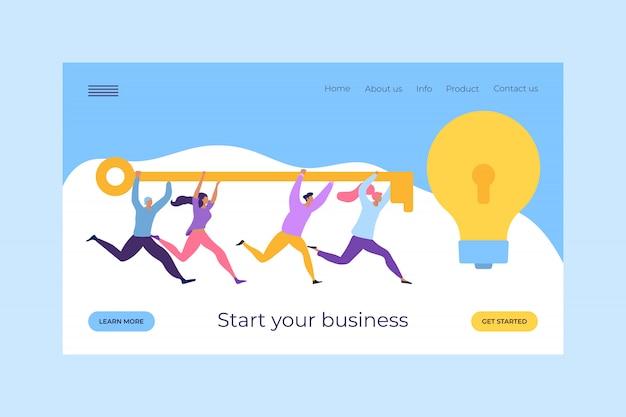 Rozpocznij swój biznes z kluczem susccess do pomysłu, ilustracja. biznesowa strategia charakteru pracy zespołowej dla dostępu