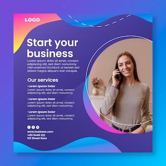 Rozpocznij szablon ulotki biznesowej w kwadracie