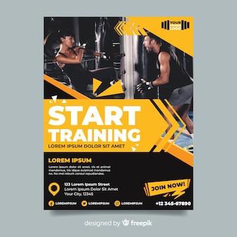 Rozpocznij trening ulotki sportowej z obrazem